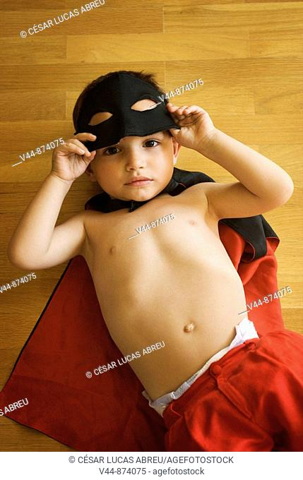 3 year old boy wearing Zorro clothes