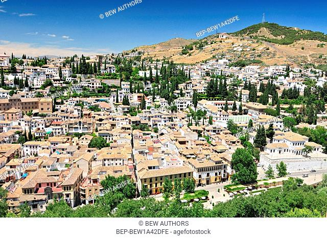A view of Granada and part the Albayzín (Albaicín) quarter, as seen from the Alcazaba citadel of the Alhambra