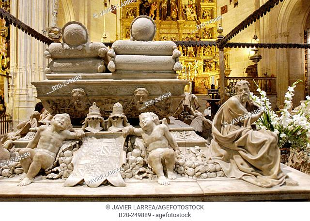 Catholic Monarchs' sepulchre by Domenico Fancelli (16th century) in the Royal Chapel of the cathedral. Granada. Spain