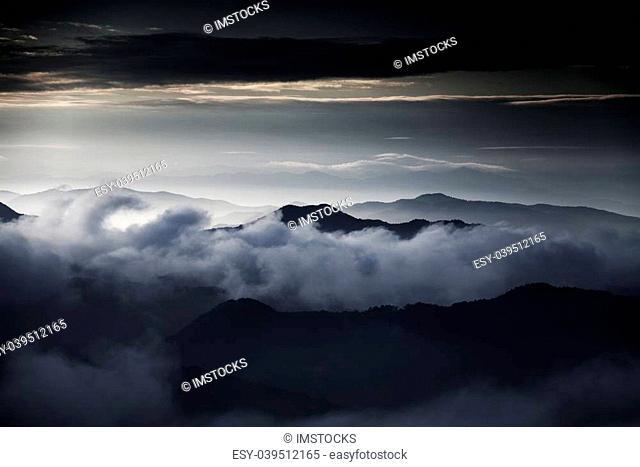 Beautiful winter landscape in south korea,okjeongho,Sea of clouds