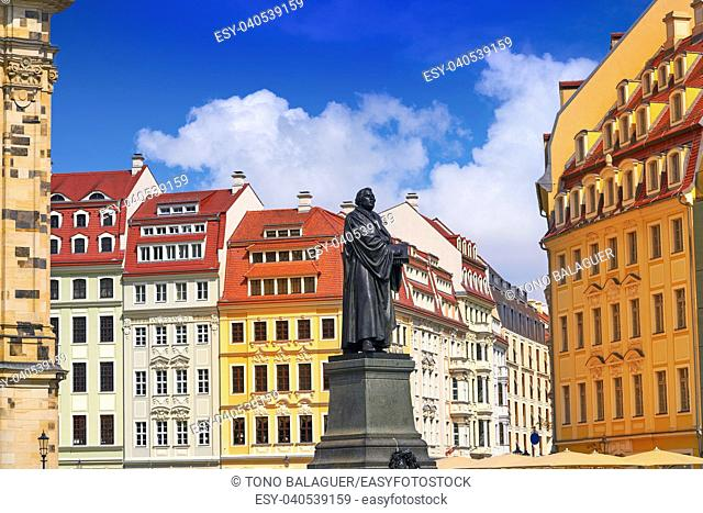 Martin Luther memorial statue near Frauenkirche in Dresden Germany