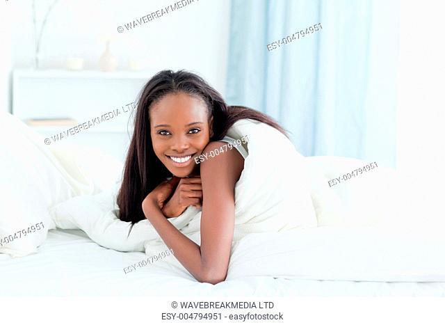 Calm woman waking up