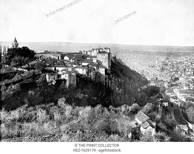 View of the Alhambra, Granada, Spain, 1893. Illustration from Portfolio of Photographs of Famous Cities, Scenes and Paintings, (The Werner Company, Chicago