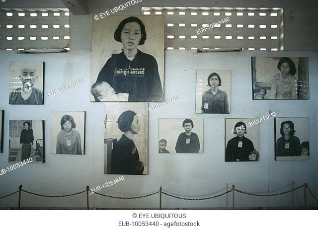 Tuol Sleng Museum. Photographs of victims of the Khmer Rouge