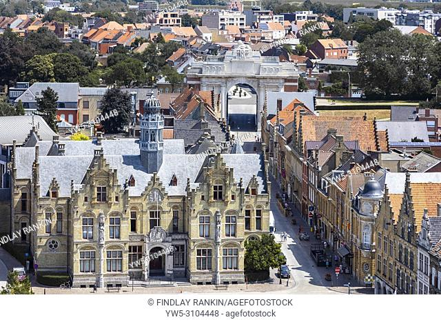 Menin Gate, Ypres from high view point over the town centre and the official Court House in Grote Markt, built in Flemish Renaissance style by the architect J