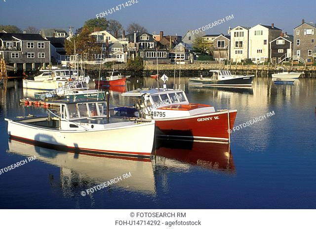lobster boats, Rockport, Massachusetts, MA, Fishing boats docked in Rockport Harbor in the fishing village of Rockport in the fall
