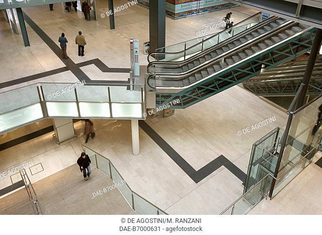 Escalators, Milano Porta Garibaldi railway station lobby in September 2005 after renovation, Milan, Lombardy, Italy