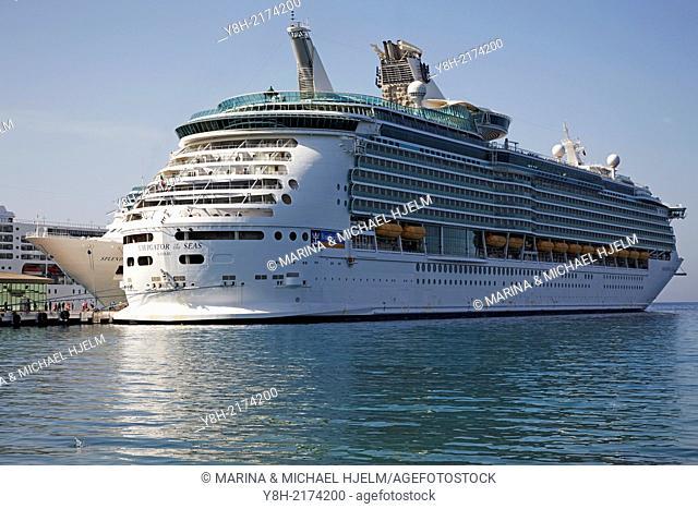 Cruiser Navigator of the Seas docked in the harbour of Kusadasi, Turkey