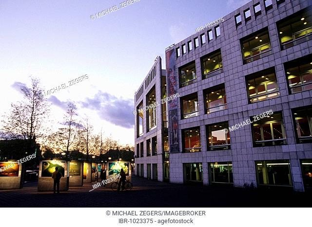 Stopera in the evening, Muziektheater, music theatre, modern architecture at Waterloo Plein, Inner Amstel, Amsterdam, North Holland, Netherlands, Europe