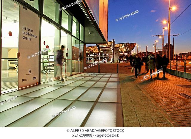 Entrance, building DHUB, Design Museum, 2013, arch. Martorell, Bohigas and Mackay, Barcelona, Plaça de les Glories, Catalonia, Spain