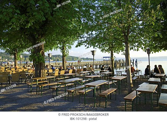 Beergarten at the Ammersee, Herrschin, Bavaria, Germany