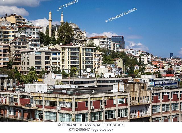 A view of the Cihangir hillside overlooking the Bosphorus in Istanbul, Turkey, Eurasia
