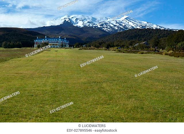 NATIONAL PARK, NZ - DEC 8 2014:Chateau Tongariro.It's located close to Whakapapa skifield on the slopes of Mount Ruapehu within the boundaries of Tongariro...