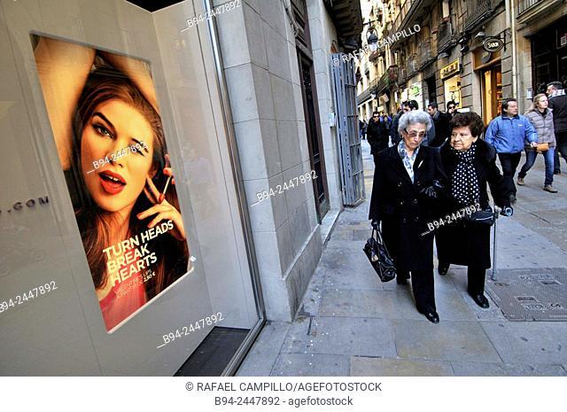 Advertising. Gothic quarter. Ciutat Vella district. Barcelona. Catalonia. Spain