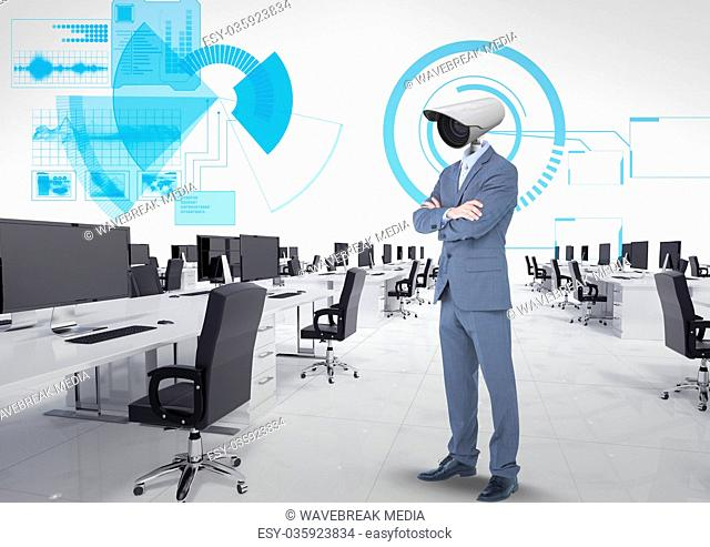 Businessman with CCTV head at office in the clouds