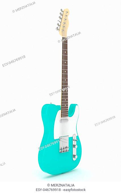 Isolated turquois electric guitar on white background. Musical instrument for rock, blues, metal songs. 3D rendering