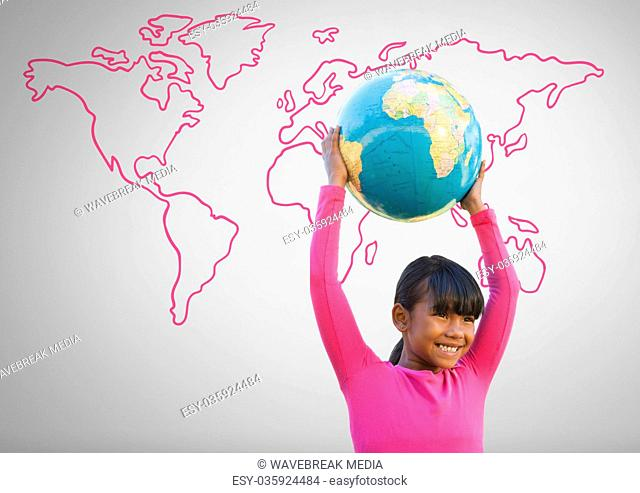 Girl against grey background with world globe and world map