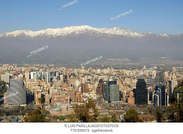 Overview of Santiago with the Andes in background, Chile