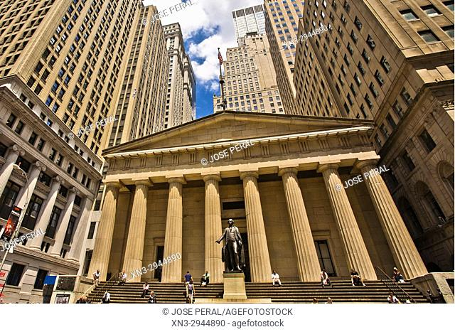 Federal Hall National Memorial, George Washington in front, Wall Street, Financial District, Lower Manhattan, Downtown, Manhattan, New York City, New York, USA
