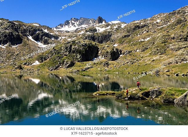 Obago lake,Colomèrs cirque,Aran Valley, Aigüestortes and Estany de Sant Maurici National Park,Pyrenees, Lleida province, Catalonia, Spain
