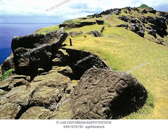 Petroglyphs  House of the Bird-Man Priest  Orongo Volcano  Easter Island  Chile  Stone village and believed to have also been a ceremonial center for the...