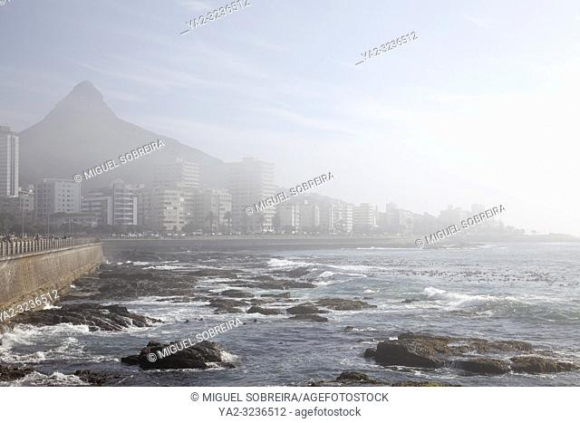 Apartments Along Sea Point Promenade in Light Fog - Cape Town , South Africa