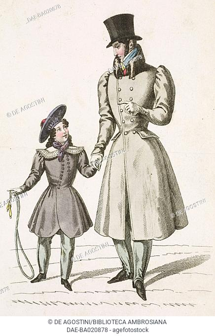 Man wearing a grey coat and top hat walking with a girl wearing a coat and hat, plate 70, French Fashions, Il Corriere delle Dame, 1827