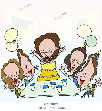 Woman celebrating her birthday with her friends