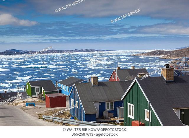 Greenland, Qaqortoq, elevated town view