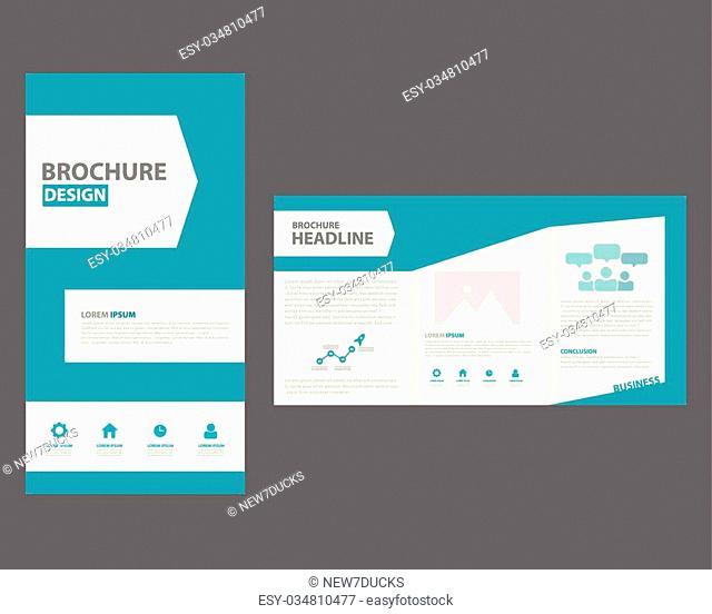 Blue Brochure template Infographic elements flat design set for brochure flyer leaflet marketing advertising
