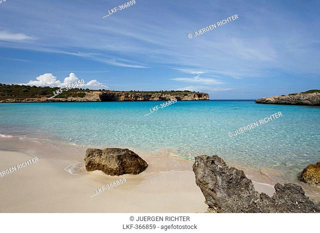 Sand beach in a bay in the sunlight, Cala Varques, Mallorca, Balearic Islands, Spain, Europe