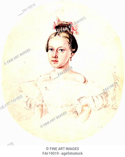 Portrait of Olga Annenkova, daughter of Decembrist Iwan Annenkow. Bestuzhev, Nikolai Alexandrovich (1791-1855). Colour lithograph. Romanticism. 1836