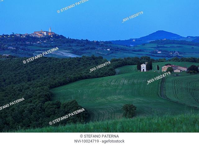 Chapel Madonna di Vitaleta and Pienza, Tuscany, Italy