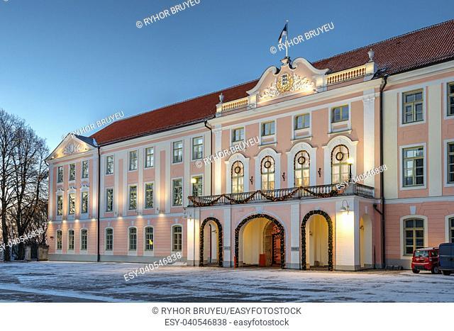 Tallinn, Estonia. Building Of Government Of Republic Of Estonia. Estonian Parliament Riigikogu In Winter Evening In Night Illuminations