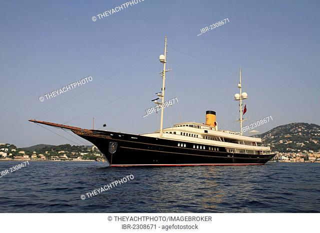 Nero, a cruiser built by Corsair Yachts, length: 90.10 meters, built in 2007, Cap Ferrat, French Riviera, France, Mediterranean Sea, Europe