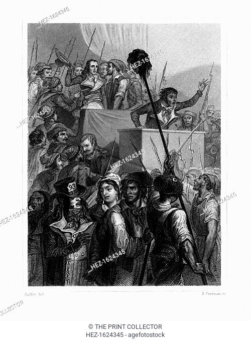 'The People at the Convention', 20 May 1795, (1845). Scene from the French Revolution with a guillotined head on a pole, and Napoleon Bonaparte (holding his...