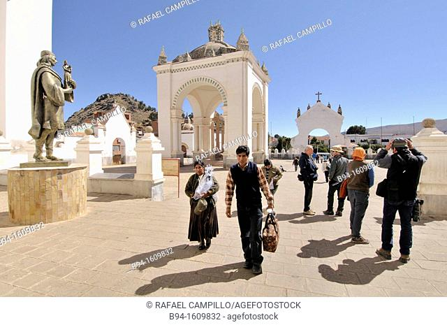 Basilica of Our Lady of Copacabana area. Copacabana is the main Bolivian town on the shore of Lake Titicaca.  Our Lady of Copacabana is the patron saint of...
