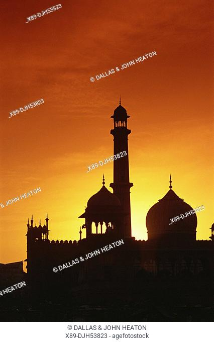 Asia, India, Old Delhi, Jama Masjid Mosque At Sunset