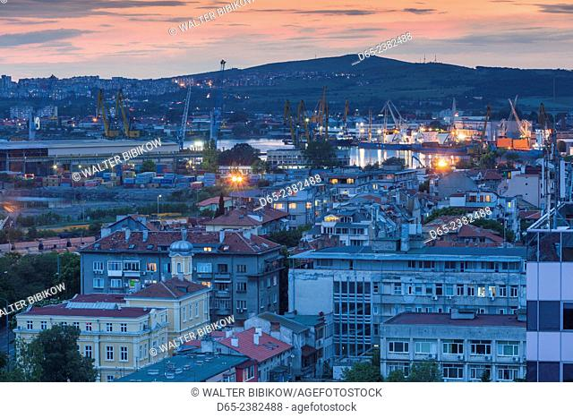 Bulgaria, Black Sea Coast, Burgas, elevated city view. dusk