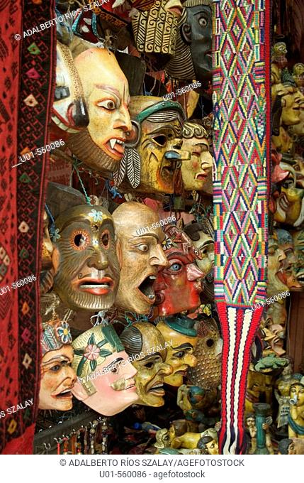 Typical masks for sale at market, Chichicastenango. Guatemala