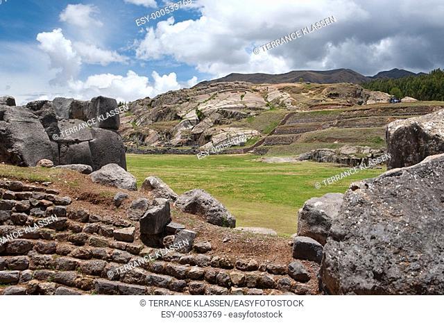 Rock walls at the fortress of Sacsayhuaman, Peru, South America