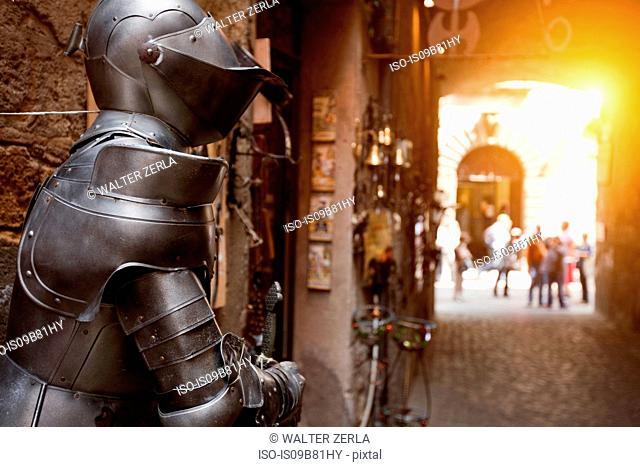 Armour displayed on street, Orvieto, Italy