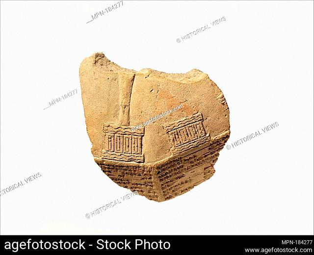 Corner fragment of inscribed prism (kudurru). Period: Neo-Babylonian; Date: ca. 7th-6th century B.C; Geography: Mesopotamia
