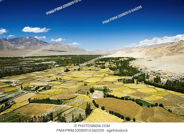 Panoramic view of a landscape, Ladakh, Jammu and Kashmir, India