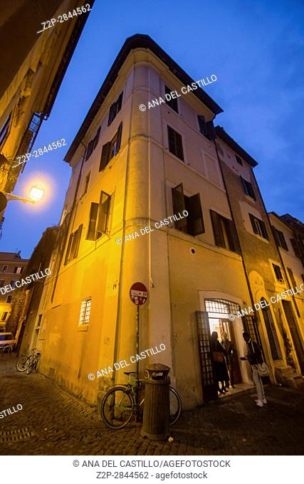 Trastevere district by dusk in Rome Italy on February 8, 2017