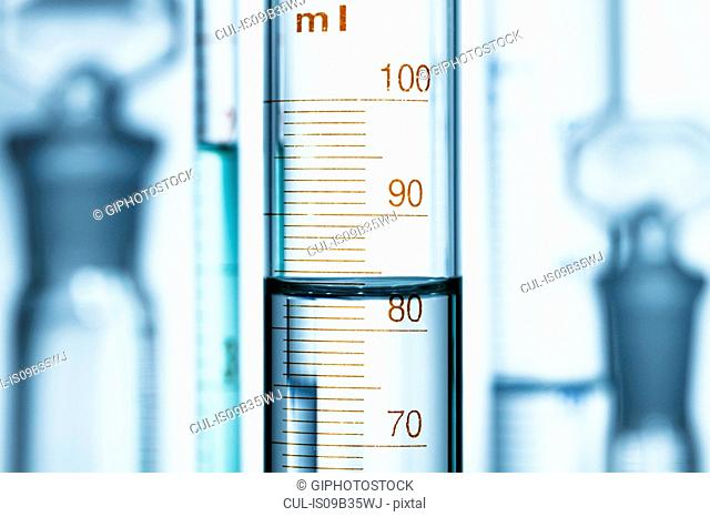 Meniscus. Curved surface (meniscus) of water in graduated cylinder. Liquid volume measured by reading the scale at the bottom of the meniscus