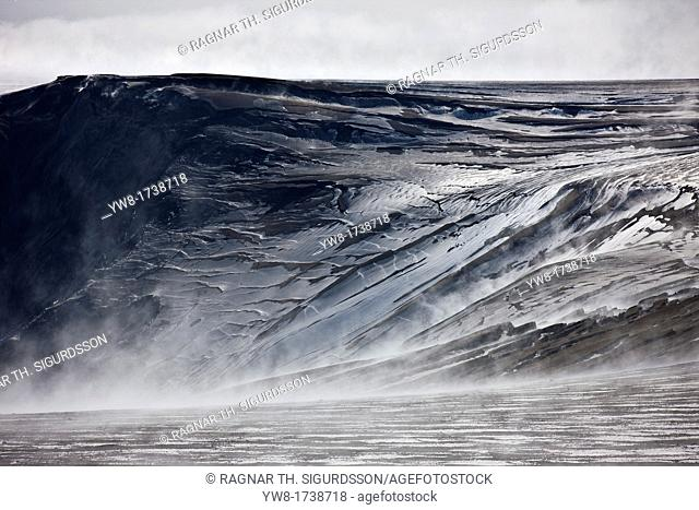 Ash covered glacier from the Grimsvotn eruption, Vatanjokull Ice Cap, Iceland