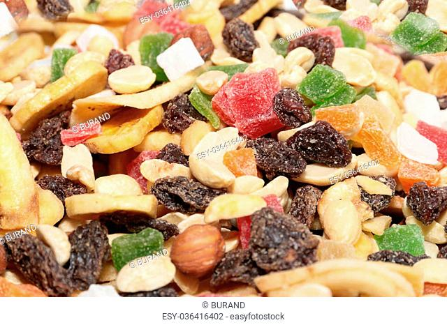 pile of dried fruit as part of the food