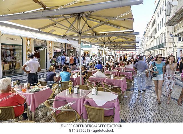 Portugal, Lisbon, Baixa, Chiado, historic center, Rua Augusta, pedestrian mall, promenade, cafe, alfresco, tables, umbrellas, busy, restaurant