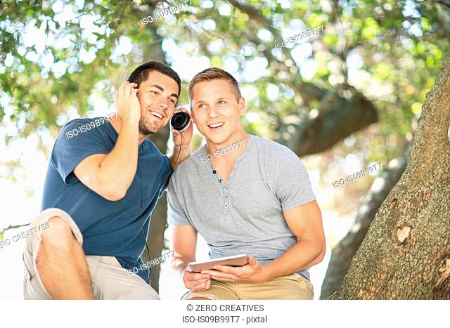 Two young male friends sitting under tree listening to headphones